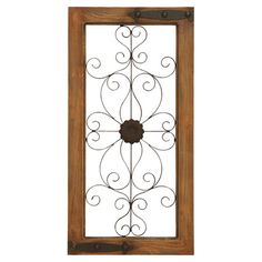 Add classic appeal to your entryway or office with this scrolling wall decor, featuring hinge details and a warm wood frame.  Produc...