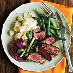 Grilled Steak with Onions and Scallions | MyRecipes.com