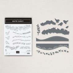"""Celebrate every occasion with the very versatile Quite Curvy Bundle! With unique curved-edge dies, pretty floral patterns, and a variety of stamped sentiments from """"hello"""" to """"hooray"""", this stamp and die bundle has what you need to create one-of-a-kind wavy projects throughout the year. Add a dash of fun to every design and get the party started with this creative, curvy bundle!"""