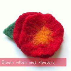 Vilten met wol is voor (jonge) kinderen een fijne activiteit. Ze zijn bezig met meerderezintuigen en mogen lekker kliederen met water en zeep. Deze bloem is eenvoudig te maken, met een prachtig re...