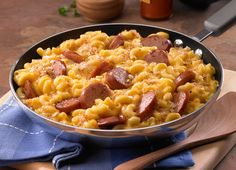 SO good and SUPER easy..and I even cut down the cheese (a lot)    Johnsonville Skillet Mac & Cheese & Kielbasa