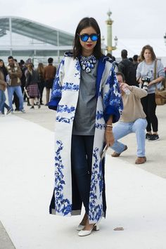 The 25 Best Street Style Snaps From Paris Fashion Week: Natasha Goldenberg has the blues.
