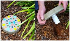 DIY Stepping Stone With Secret Key Hider / Or using a square or rectangle cake pan for the front to make a patio...hmmm