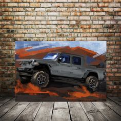Excited to share this item from my #etsy shop: Jeep Gladiator JT- Sting gray, Classic truck art, Rubicon art print, Jeep enthusiast gift,man cave art, gift for husband, college dorm decor