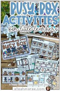Need a fun way to keep your toddler or preschooler playing and learning in one spot? You need BUSY BOXES! Click the pin to check out this inside peek into these engaging, printable activities for little ones to learn and play with all year long! They fit perfectly into 4x6 photo boxes and are great for toddlers, preschoolers, and other learners practicing fine motor skills, early literacy skills, and early math skills. Click the pin to see all the details! Groundhog Day Activities, Kindergarten Activities, Preschool Classroom, Classroom Activities, Classroom Ideas, Early Math, Early Literacy, Toddler Preschool, Toddler Activities
