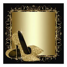 Jewelry Black Gold Black Gold High Heels Womans Birthday Party Invitation - Shop Black Gold High Heels Womans Birthday Party Invitation created by Pure_Elegance. Personalize it with photos Happy Birthday 40, 75th Birthday Parties, Fifty Birthday, Gold Birthday Party, Mermaid Birthday, Birthday Party Invitations, Gold High Heels, Glitter High Heels, Gold Glitter