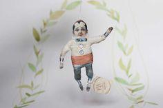 Nostalgische Wattefigur FilASophie Ornament Harlekin von FilASophie Circus Art doll Spun cotton harlekin clown ornament handmade Handwerk