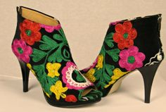 Handcrafted sexy colorful Ankle Peep Toe by TrevoraCollections, $159.45