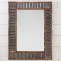 "Corrugated Metal Wall Mirror - (31.5""H x 23.6""Wx1.8""D)"