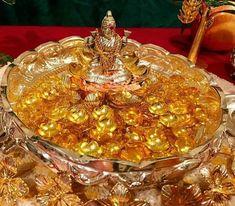 Diwali Decorations At Home, Festival Decorations, Flower Decorations, Silver Pooja Items, Ganapati Decoration, Pooja Mandir, Pooja Room Door Design, Silver Lamp, Flower Rangoli