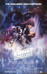 Episode V!!! My fave of the OT! Awesome poster! Love the Rhett/Scarlett imitation with Han and Leia (who I like much better BTW).