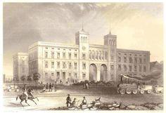 Berlin Hamburger Bahnhof um 1850 - Im Vordergrund die Verbindungsbahn