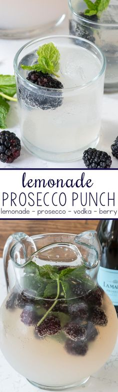 Punch - this easy cocktail punch comes together in minutes with just 3 main ingredients! It's perfect for a summer party!Prosecco Punch - this easy cocktail punch comes together in minutes with just 3 main ingredients! It's perfect for a summer party! Beste Cocktails, Easy Cocktails, Cocktail Drinks, Alcoholic Drinks, Beverages, Prosecco Cocktails, Cocktail Ideas, Drambuie Cocktails, Rumchata Cocktails
