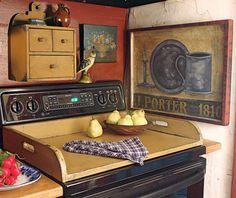 kitchen design ideas - wooden stove top tray - circa home living via atticmag Smart Kitchen, Diy Kitchen, Kitchen Ideas, Kitchen Small, Kitchen Stove, Kitchen Tips, Kitchen Design, Kitchen Shelves, Kitchen Inspiration