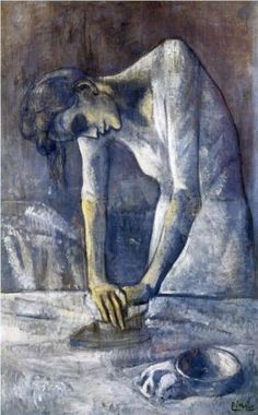 The ironer - Pablo Picasso. Oil on canvas expressionism from Picasso's blue period, 116.2 x 73 cm. 1904 - Woman ironing