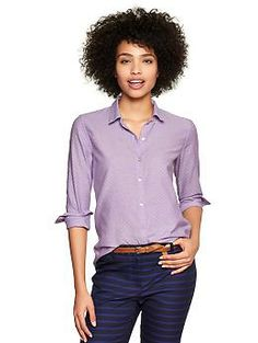 Fitted boyfriend dot Oxford shirt | Gap