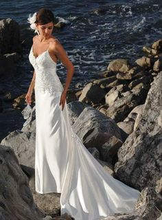 beach wedding dress, Sheath/Column Spaghetti Straps Sleeveless