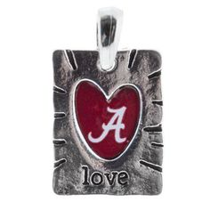 $9.99 DR - Bling Bling, Collegiate Jewely, Sweet and Simple - Silver Tone Hammered Metal Pendant with a Heart Shape Cut Out Featuring the University of Alabama Logo. Roll Tide, Measures 1 Inch. Alabama, http://www.amazon.com/dp/B007ASYEO8/ref=cm_sw_r_pi_dp_TACZqb17TNAAA