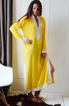 Tory Burch Style Yellow Caftan Kaftan Mariam by MaisonMarrakech, $89.99