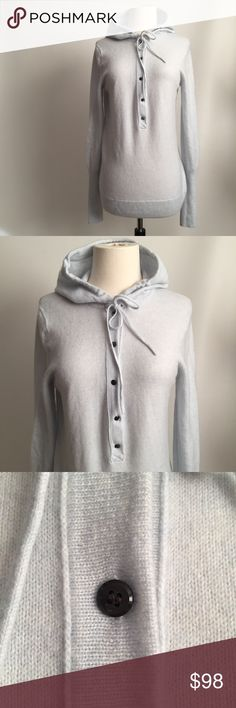 J. CREW COLLECTION Italian Cashmere Hoodie Gorgeous J. CREW COLLECTION Italian Cashmere Hoodie in Baby Blue. Has 5 Button Closure and Beautiful  Styling of The Arm/Wrist. Super Soft and Cozy. Great Addition to Have in Your Closet. Excellent Condition. J. Crew Sweaters