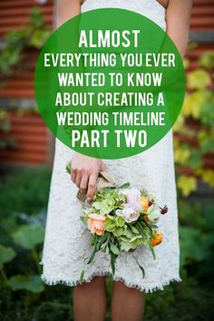 A Practical Wedding: Creating a Wedding Timeline, Part II from Lowe House Events