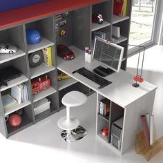#Escritorio ordenado y funcional para la zona de estudio de un #dormitorio #infantil