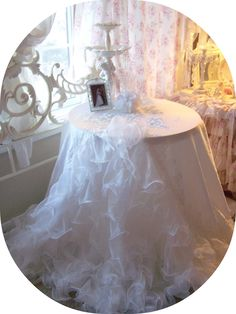 Bridal Tablecloth Made From Vintage Gown
