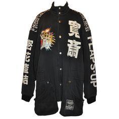 Pre-owned Rare Yamamoto Kansai Oversize Lion Applique Jacket (41.849.970 VND) ❤ liked on Polyvore featuring outerwear, jackets, coats, black, coats & jackets, oversized jacket y black jacket