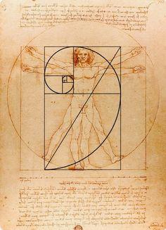 "Leonardo da Vinci, ""Vitruvian Man"", ca. Da Vinci Vitruvian Man, Vitruvian Man Tattoo, Fibonacci Golden Ratio, The Golden Mean, Divine Proportion, Sacred Geometry Symbols, Fractal Art, Drawings, Illustration"