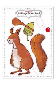 Hampelmann Eichhörnchen Bastelbogen von Krima und Isa zum Selberbasteln DIN A4