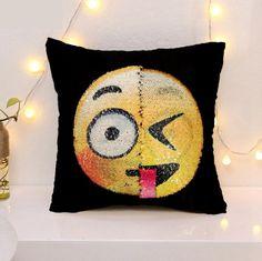 2017 new cute DIY changing face emoji decorative pillows sequin Mermaid Pillow smiley face pillow sofa cushion home decor Price: USD