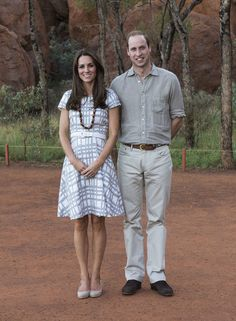The duchess's gray and white plaid Hobbs dress reemerged for a tour of Ayers Rock.
