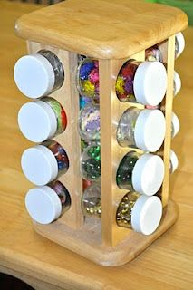 Spice rack storage for mini art supplies such as: glitter, beads, sequins and googly eyes