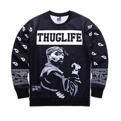 51f324ad Find More Hoodies & Sweatshirts Information about 2016 New urope And  America fashion men's hip hop hoodies print Rapper Tupac sweatshirt  THUGLIFE hoodies ...