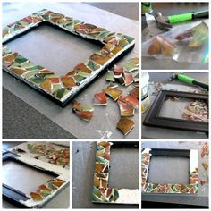DIY Mosaic Picture Frame   Now you know what to make from your favorite broken dishes or items. See full tutorial on TodaysCreativeLife.com