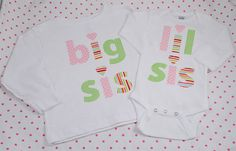 Hand Appliqued BIG SiS t-shirt and LIL SiS onesie Girl Big Sister Little Sister Matching Set on Etsy, $55.00