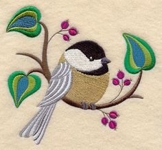 Crafty Chickadee with Thimble Embroidered Flour Sack Hand/Dish Towel Machine Embroidery Designs, Embroidery Stitches, Embroidery Patterns, Hand Embroidery, Embroidery Suits, Dish Towels, Quilt Blocks, Weaving, Crafty