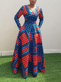 Vintage Polka Dots Long Dress African Clothing Long Sleeve Autumn Winter Swing Printed Ladies Tunic Retro Dress Size M Color Blue Long African Dresses, Latest African Fashion Dresses, African Print Dresses, African Print Fashion, Long Ankara Dresses, Cheap Dresses, Dresses Dresses, Dresses Online, Maxi Dress With Sleeves