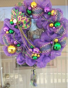 Mardi Gras wreath - for the door of the hospitality suite  or for the doors of the balcony