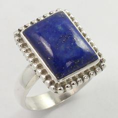 Genuine LAPIS LAZULI Gemstone 925 Sterling Silver Ring Size US 8.75 ! Wholesale…
