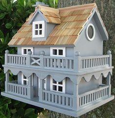 Classic Novelty Cottage Bird House Blue
