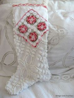 I have 2 chenille stockings, similar to this, from the Shabby Chic Collection. Chenille Quilt, Chenille Crafts, Fabric Crafts, Sewing Crafts, Sewing Ideas, Sewing Projects, Christmas Sewing, Victorian Christmas, Pink Christmas