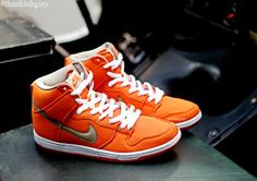 NIKE SB DUNK HIGH PRO ORANGE CANVAS #sneaker