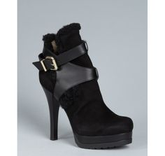 Fendi black suede shearling buckle detail ankle boot