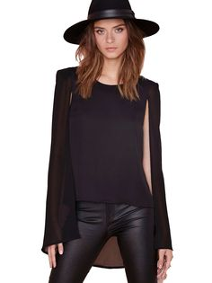 Shop Black Cape Style High Low Blouse online. Sheinside offers Black Cape Style High Low Blouse & more to fit your fashionable needs. Free Shipping Worldwide!