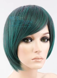 """10"""" Short Straight Mixed Green Fashion Synthetic Hair Wig PL388"""