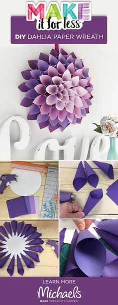 See how easy it is to make this DIY Dahlia paper wreath decoration . - See how easy it is to make this DIY Dahlia paper wreath - Giant Paper Flowers, Diy Flowers, Paper Flower Making, Paper Flowers How To Make, Tissue Paper Flowers Easy, Origami Flowers, Kids Crafts, Baby Crafts, Do It Yourself Decoration