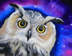 1620 HORNED OWL ORIGINAL Oil Painting Bird Art by VERN