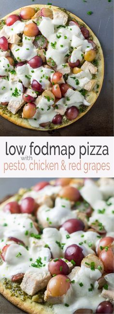 A little sweet and a little savory, this Low Fodmap Pizza with Pesto, Chicken and Red Grapes may sound unique, but it is oh-so-good. It's also gluten free and can easily be made dairy free!
