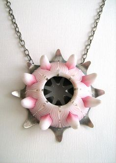 "Celine Charuau, necklace ""Sea Anemone"" - polymer and sterling silver."